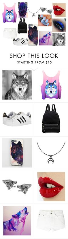 """space wolf"" by maddielion2 ❤ liked on Polyvore featuring adidas, Radley, The Rogue + The Wolf, Journee Collection, Yves Saint Laurent and holosexual"