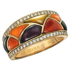 Kabana 14k Gold Ring with Inlaid Multicolor Spiny Oyster, Mother of Pearl and Fifty Diamonds