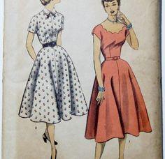 Vintage Dress Pattern: 1950s Dress with Full Skirt, Advance 6120