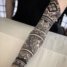 an ornamental tattoo artist, Jack Peppiette was Continue Reading and for more tattoo design → View Website Mandala Arm Tattoo, Geometric Mandala Tattoo, Geometric Tattoo Design, Geometry Tattoo, Mandala Tattoo Design, Arm Band Tattoo, Black Tattoos, Body Art Tattoos, Hand Tattoos