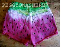 Vtg 1980's Lee Watermelon cut off high waist distressed denim festival shorts hand dyed painted