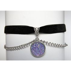 Light Purple Drusy Velvet Choker, Chains, Shining, Holographic,... ($9.22) ❤ liked on Polyvore featuring jewelry, necklaces, gothic necklaces, chain choker necklaces, chain choker, gothic chokers and pastel goth necklace