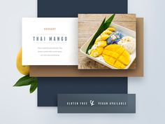 Almost done with the full menu presentation. This is the footer. I am fine tuning it a bit. Do you think the mango on the background (left) is too much?  It is a fixed menu so I wanted to try a mor...