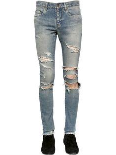 SAINT LAURENT 15Cm Super Destroyed Stretch Denim Jeans, Blue. #saintlaurent #cloth #jeans