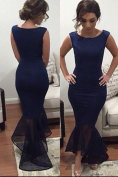 2016 Mermaid Evening Gowns Dark Navy Sheer Train Simple Red Formal Evening…