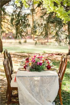 Elegant outdoor table setting