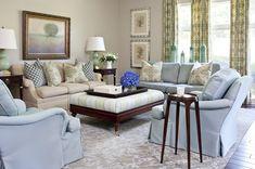 Tobi Farley living room, blues and greens