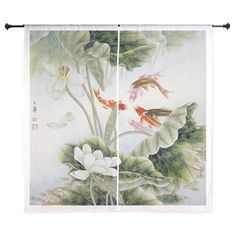 Koi fishes and lotus flowers Curtains on CafePress.com