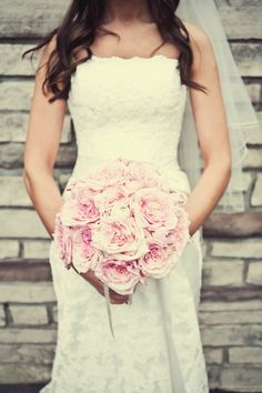 Pink O'hara garden rose bridal bouquet designed by Blooms & Posies www.bloomsandposies.com