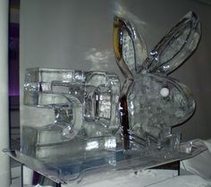 A beautiful playboy bunny ice sculpture. Visit our website for more info of how are ice sculptures made.