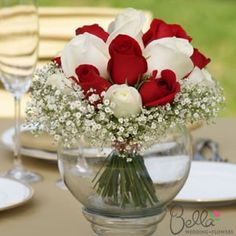 Bouquet Red And White Wedding Centerpieces. Reuse bouquets after ceremony as centerpieces White Wedding Bouquets, Bridesmaid Bouquet, Red Wedding, Wedding Flowers, Wedding Dresses, Red And White Weddings, Red And White Wedding Decorations, Red And White Roses, Red Roses