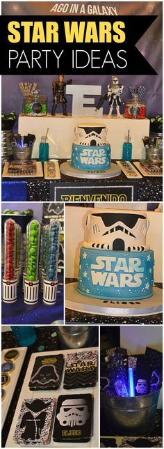 How cool is this Star Wars party?! See the light saber favors on slide 14! See more party ideas at CatchMyParty.com!