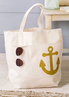 """Say """"ahoy"""" to summer style with some sparkly DIYs! Create your own larger designs using glittery iron-on sheets and your Cricut machine."""