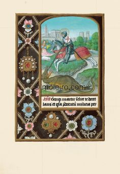 The Hours of Joanna I of Castile, Joanna the Mad f. 228v, St George. The border on each folio belongs to the geometric border group featuring a decorative pattern that consists ...