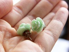 Sea Foam Green Rose Studs