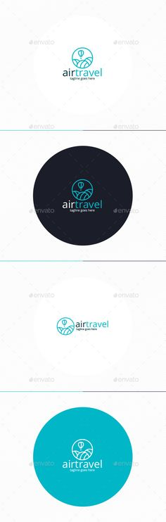 Air Travel Logo by shaoleen �20Fully Editable Logo �20CMYK �20AI, EPS, PSD, PNG files �20Easy to Change Color and Text