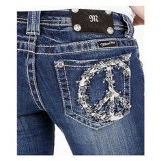 Miss Me Blingy Peace Sign Jeans Miss Me Boot Cut Blingy Crystal Peace Sign Pocket Jeans in size 25 with an inseam of 33. Style #: JP5356B In really great condition! Miss Me Jeans Boot Cut