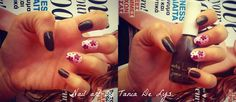 Brown and baby pink nails with flowers