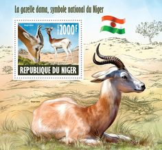 Dama gazelle – the national Niger symbol, (Nanger dama). World Wild Life, Mail Art, Stamp Collecting, Spirit Animal, Postage Stamps, Wildlife, Africa, Symbols, Flora