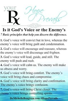 God is speaking all the time—we just have to learn to become more attuned to hearing His voice and discerning the difference between His voice and the enemy's voice. Apply these basic principles to help you discern if the voice you are hearing. Bible Prayers, Bible Scriptures, Forgiveness Scriptures, Bible 2, Faith Quotes, Bible Quotes, Discernment Quotes, Spiritual Discernment, Mommy Quotes