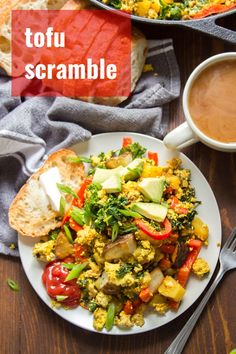 Tofu scramble with the works! This savory vegan breakfast is packed with flavor and loaded with crispy potatoes, juicy red bell peppers and hearty kale. Easy, delicious, and packed with protein! Vegan Gluten Free Breakfast, Tofu Breakfast, Vegan Breakfast Recipes, Breakfast Ideas, Tofu Recipes, Delicious Vegan Recipes, Whole Food Recipes, Cooking Recipes, Vegetarian Recipes