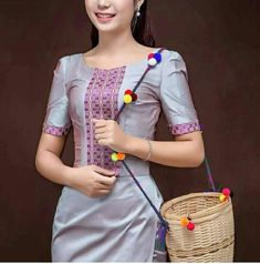 Traditional Dresses Designs, Traditional Outfits, Fashion Wear, Fashion Outfits, Myanmar Dress Design, Myanmar Traditional Dress, Thai Dress, Batik Dress, Beautiful Asian Women