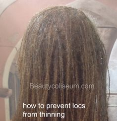 Thinning locs can be frustrating. Find out how to prevent locs from thinning. Know the right products and what to do to keep your locs healthy. Thin Dreads, Natural Dreads, Natural Hair Twists, How To Grow Natural Hair, Natural Hair Updo, Natural Hair Growth, Natural Hair Styles, Long Hair Styles, Sister Locs Styles