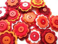Set of 10 pcs handmade felt button -  red MIX  (BU)