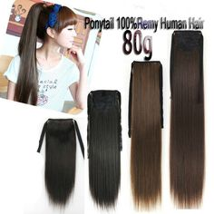 80G Ribbon Ponytail One Hairpiece Clip In Real Human Hair Extensions 16''~24''
