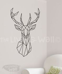 Geometric Deer Head Wall Decal.  Measurements: 51,5cm x 86,5cm / 20.3 x 34.1  Color Options: *Important* Please specify your choice of color in the