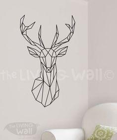 Geometrische Deer Head Wandsticker Decal von LivingWall auf Etsy