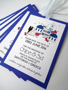 #Santorini Save the Date Cards by bunnydelicious on Etsy