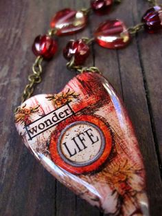 Heart Polymer Clay Necklace Beaded Brass Chain