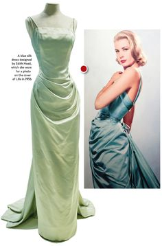 "Visitors to the exhibition are greeted by the photo that adorned a LIFE cover in 1956; Grace Kelly wearing a seafoam /blue gown designed by Edith Head. On display is the dress and the matching coat.  ""She wore things that she liked many times,"" curator Cynthia Cooper said, noting she also wore the dress to the opening of The Country Girl, for which she won an Oscar in 1955."