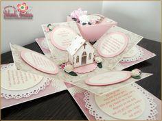 Wedding Exploding Box Card with Burlap & Church Theme Pop Up Box Cards, 3d Cards, Wedding Boxes, Wedding Cards, Diy Paper, Paper Crafts, Exploding Gift Box, Tassel Bookmark, Paper Magic