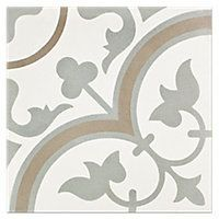 Cheverny Blanc Encaustic Cement Wall and Floor Tile - 8 x 8 in $15.99 Sq Ft     			 					Coverage 5.40 Sq Ft per  Box