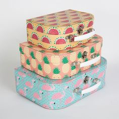 SASS & BELLE SET OF 3 TROPICAL SUMMER SUITCASES STACKING STORAGE BOX HOME GIFT in | eBay