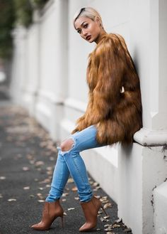 Brown Fur-Coat & Short High-Heel Boots with Ripped Denim (961×1342)