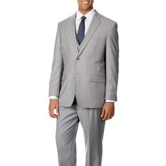 3d26d085a Caravelli Italy Men's Light Grey Vested 2-button Suit - Free Shipping Today  - Overstock