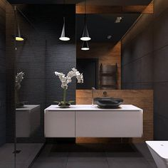 A Black #Bathroom? Yes, Please! | Designed by Katya Baryshnikova #Russia
