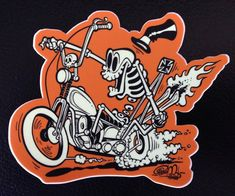 Items similar to Chopper Skeleton STICKER - by Shawn Dickinson on Etsy Motorcycle Paint Jobs, Motorcycle Art, Harley Davidson Art, Traditional Japanese Tattoos, Cartoon Styles, Cartoon Ideas, Lowbrow Art, Old Cartoons, Pencil Art Drawings