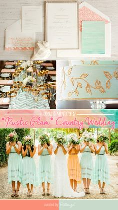 Coral and Mint Green for a 'Rustic Glam' Country Wedding #beachweddings #weddingthemes #countryweddings