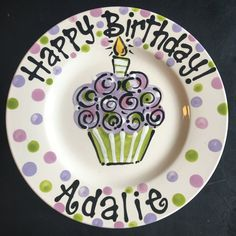 Personalized Birthday Plate - Hand Painted Birthday Plate - Purple and Green Colorful Cupcake Pottery Painting Designs, Paint Designs, Painted Plates, Hand Painted, Painted Pottery, Birthday Plate, Best Sugar Cookies, Plate Art, Special Birthday