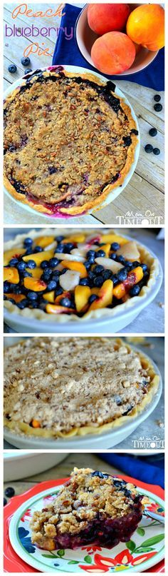 Peach Blueberry Pie with Pecan Streusel Topping - this easy pie recipe is bound to become your new favorite summer dessert! Fresh peaches and blueberries combine for the most incredible flavor!