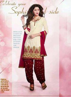 Charming Cream & Maroon Cotton Based Salwar #Suit With Zari Work #salwarkameez #ethnicwear #womenapparel #womendresses