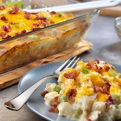 Cheesy Chicken and Potato Casserole  (use alfredo instead of cream of soup)