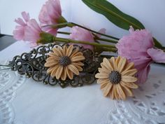Sunflower Hair Clip Barrette Ring Set Beige by HummingbirdJewelry1, $25.00