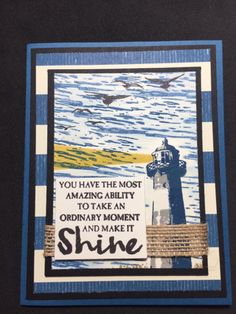 Stampin' Up! card featuring Occasions catalog High Tide lighthouse set by Luv 2 Stamp Group member Leticia Hernandez