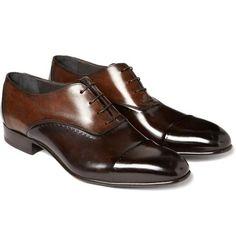 """Lanvins Mens Leather """"Puzzle"""" Oxford Shoes"""