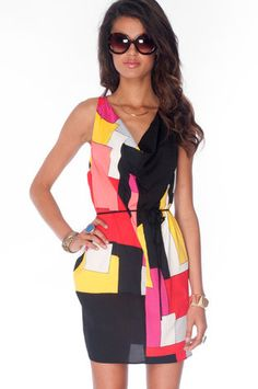 Geometry Tied Tunic Dress in Red Multi $33 at www.tobi.com